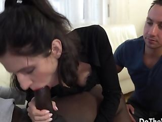 Petite Wife Lina Arian Fills Her Tight Holes with a BBC While Cuckold Licks