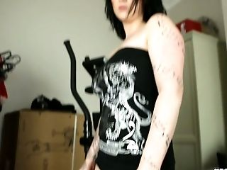 Black haired tattooed bitch Harmony Reigns shows her fat ass on camera