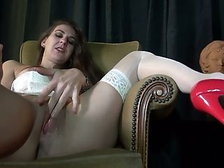 Real slut in white lingerie gets all her hungry holes nailed by two studs