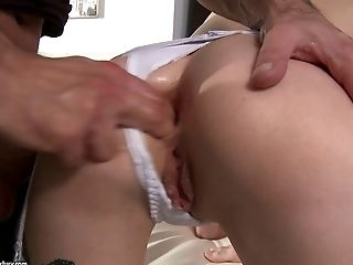 Fake titty damsel face fucking a cock as she gets throbbed in her anal