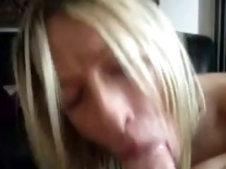 Appealing blonde babe sucking my big dick with pleasure