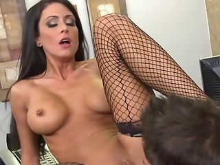 Brunette Jessica Jaymes with massive hooters puts Johnny Castles man meat in her mouth and sucks repeatedly