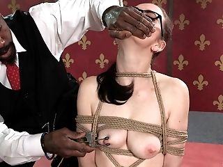 Nerdy babe can't believe how rough the bondage session can get
