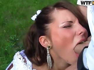 Tanned petite Madelyn get ganged banged outdoor