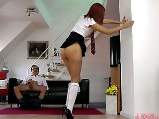 Young college chick in super short skirt Aylin is fucked by old teacher