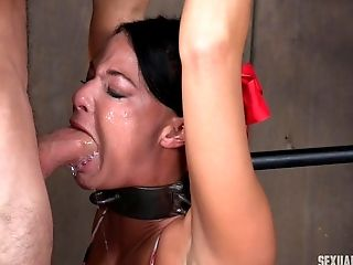 Black-haired cutie almost cries during the painful bondage treatment