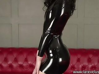 Looking fantastic in her latex dress nympho brags off her juicy ass