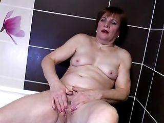 Bathroom, Fingering, Granny, Mature, Pussy,