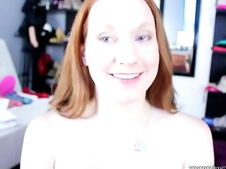 Blue eyed filthy ginger pleasures her vagina with fancy orange fuck toy