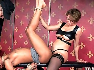 Black chick bound by rope takes a hard dick from master
