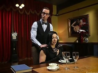 Ardent brunette Lea Lexis is fucked by cooker and waiters in a restaurant