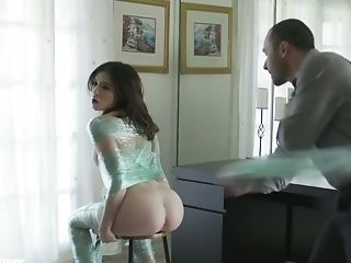 Handsome young stepdaddy fucks pretty hot brunette James Deen and cums in her mouth