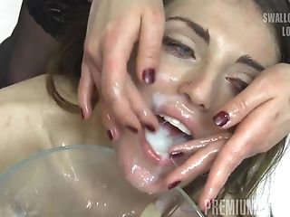 Premium Bukkake - Nona swallows 99 huge mouthful cumshots
