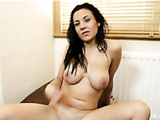 Raven haired petite hooker with droopy boobies Nicole performs hot solo on coach