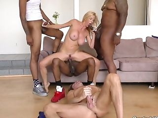 Blond bitch Alexis Fawx goes wild with several black and white dudes