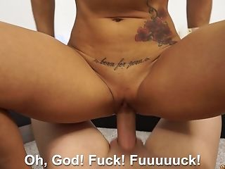 Insatiable Spanish bitch Ginger Hell licks and swallows a big penis