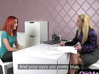 Redhead czech casting babe eaten out by agent