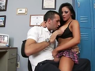 Sexy brunette Audrey Bitoni fucks with the gym teacher