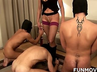 Nasty mature masturbates and fucks three dudes in masks