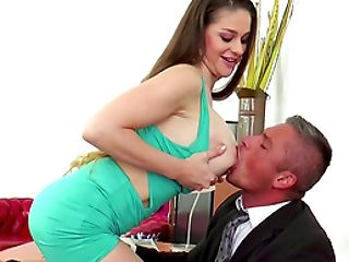 Big breasted Cathy Heaven offers her body to her randy boss