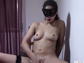 Sasha Tuga likes to wear a mask and she is awesome at masturbating