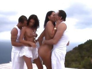 Hottest pornstars Angel Dark and Anita Blue in best anal, brazilian sex movie