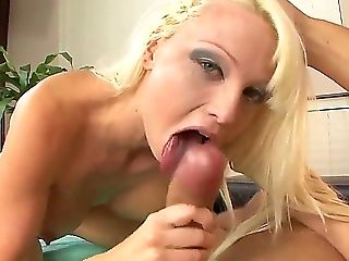 Delicious big titted blondy Rikki Six slobbers all over Danny Mountain's big pulsating cock