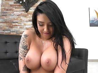 Tattooed Latina riding and taking a cumshot