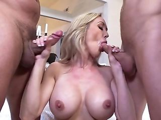 Home alone wife gets two big dicks to play with