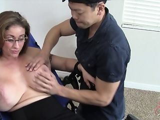 Big breasted woman Eva Notty tied up for a hot BDSM game