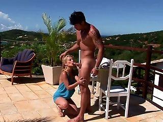 Blondie with tan lines places her ass on a throbbing boner