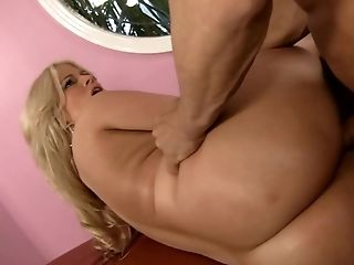 Blonde Julie Cash with gigantic boobs is on the way to the height of pleasure with horny fuck buddy