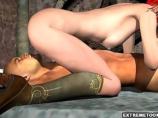 Tied Up Stud Gets Sucked off by a 3D Redhead
