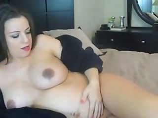 Pregnant black head with huge boobies loves to play with her own cunt
