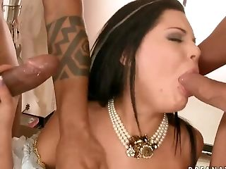 Madison Parker has an interracial threeway