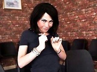 Black haired petite slut Rose X strips to finger her kitty tough