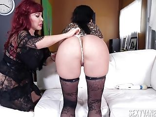 passionate lesbian Sexy Vanessa uses strapon to please her girlfriend