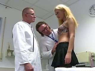 Kinky blonde Gabriella Daniels is fucked by her BF and kinky doctors
