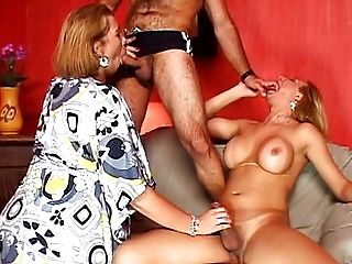 Hot Tranny threesome for lucky hot guy
