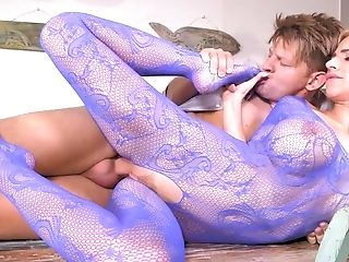 Big Tits, Blonde, Bodystocking, Cum, Cumshot, Doggystyle, Fake Tits, Feet, Foot Fetish, Footjob,