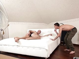 Bald dude gets seduced by a gay guy into sucking his throbbing dick