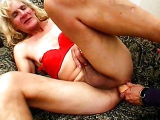 Two granny shemales get down on dick